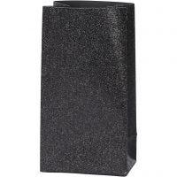 Paper Bag, H: 17 cm, size 6x9 cm, 170 g, black, 8 pc/ 1 pack