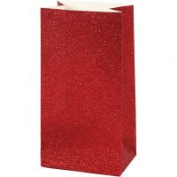 Paper Bag, H: 17 cm, size 6x9 cm, 200 g, red, 8 pc/ 1 pack