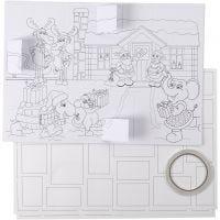 Christmas Calendar, size 30x42 cm, white, 5 pc/ 1 pack