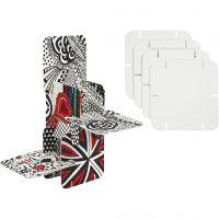 Construction Pieces, size 9,3x9,3 cm, white, 20 pc/ 1 pack