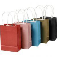 Paper Bag, H: 17 cm, W: 12x7 cm, 125 g, assorted colours, 5x2 pc/ 1 pack