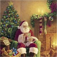 Table Napkins, Santa at home, size 33x33 cm, 20 pc/ 1 pack