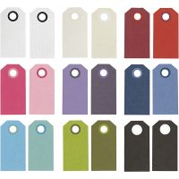 Manila Tags, size 6x3 cm, 250 g, assorted colours, 30 pack/ 1 pack