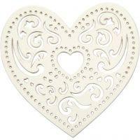 Filigree Heart, W: 7,5 cm, 250 g, white, 18 pc/ 1 pack