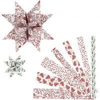 Paper Star Strips, L: 44+78 cm, W: 15+25 mm, D: 6,5+11,5 cm, red, white, 48 strips/ 1 pack