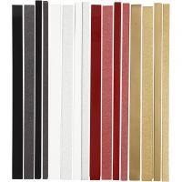 Paper Star Strips, L: 44+78 cm, D: 6,5+11,5 cm, W: 15+25 mm, glitter,varnish, 4x10 pack/ 1 pack