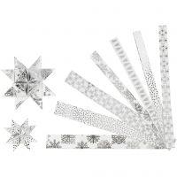 Paper star strips, L: 44+78 cm, W: 15+25 mm, D: 6,5+11,5 cm, silver, white, 48 strips/ 1 pack