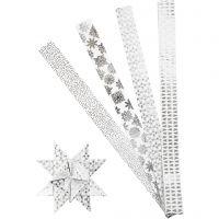 Paper star strips, L: 100 cm, D: 18 cm, W: 40 mm, silver, white, 40 strips/ 1 pack