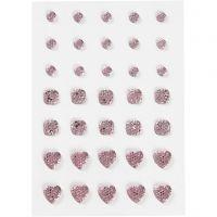 Rhinestones, round, square, heart, size 6+8+10 mm, rose, 35 pc/ 1 pack