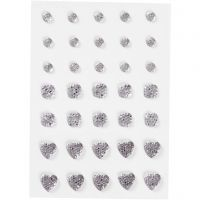 Rhinestones, round, square, heart, size 6+8+10 mm, silver, 35 pc/ 1 pack