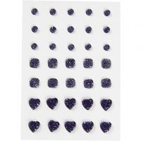 Rhinestones, round, square, heart, size 6+8+10 mm, blue, 35 pc/ 1 pack