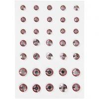 Rhinestones, round cone, size 6+8+10 mm, rose, 35 pc/ 1 pack