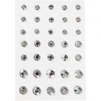 Rhinestones, round cone, size 6+8+10 mm, silver, 35 pc/ 1 pack