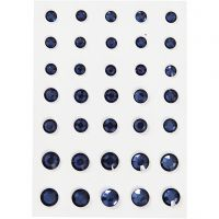 Rhinestones, round cone, size 6+8+10 mm, blue, 35 pc/ 1 pack