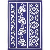 Flexible Stencil , flowery borders, 21x14,8 cm, 1 pc