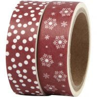 Washi Tape, ice crystals and dots, W: 15 mm, 2x5 m/ 1 pack