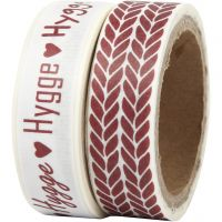 Washi Tape, hygge and knitting, W: 15 mm, 2x5 m/ 1 pack