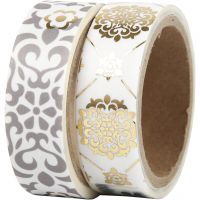 Washi Tape, tiles and flowers - foil, W: 15 mm, 2x4 m/ 1 pack