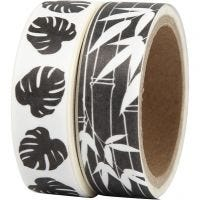 Washi Tape, leaves, W: 15 mm, 2x5 m/ 1 pack