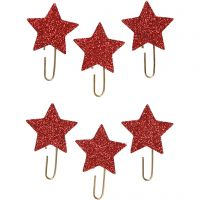 Metal Paperclips, star, D: 30 mm, red glitter, 6 pc/ 1 pack