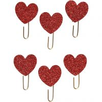 Metal Paperclips, hearts, D: 30 mm, red glitter, 6 pc/ 1 pack