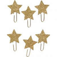 Metal Paperclips, star, D: 30 mm, gold glitter, 6 pc/ 1 pack
