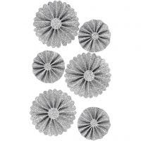 Paper Rosettes, D: 35+50 mm, glitter silver, 6 pc/ 1 pack