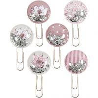Shaker clips, L: 49 mm, D: 25 mm, beige, brown, rose, white, 6 pc/ 1 pack