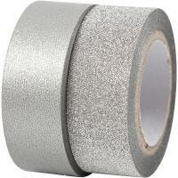 Design Tape, W: 15 mm, silver, 2 roll/ 1 pack