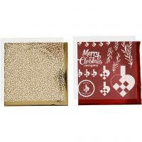 Deco Foil and transfer sheet, braided hearts, 15x15 cm, gold, red, white, 4 sheet/ 1 pack