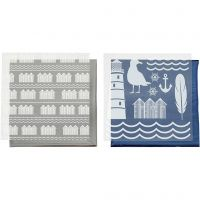 Deco Foil and transfer sheet, lighthouse, 15x15 cm, blue, silver, 2x2 sheet/ 1 pack
