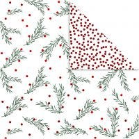 Design Paper, spruce branch and dots, 30,5x30,5 cm, 180 g, gold, green, red, white, 3 sheet/ 1 pack