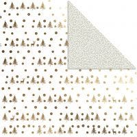 Design Paper, deers and dots, 30,5x30,5 cm, 180 g, gold, 3 sheet/ 1 pack