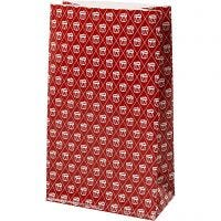 Paper Bag, drum, H: 21 cm, size 6x12 cm, 80 g, red, white, 8 pc/ 1 pack