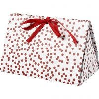 Folding gift box, dots, size 15x7x8 cm, 250 g, red, 3 pc/ 1 pack