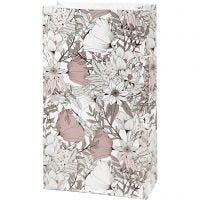 Paper Bag, H: 21 cm, size 6x12 cm, 80 g, beige, brown, rose, white, 8 pc/ 1 pack