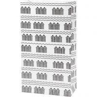 Paper Bag, H: 21 cm, size 6x12 cm, 80 g, black, white, 8 pc/ 1 pack