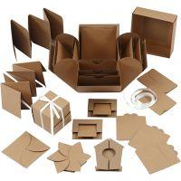 Explosion box, size 7x7x7,5+12x12x12 cm, natural, 1 pc