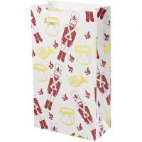 Paper Bag, nutcracker, H: 21 cm, size 6x12 cm, gold, red, white, 8 pc/ 1 pack