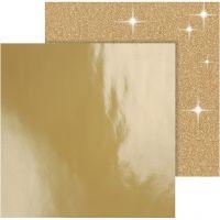 Design Paper, 30,5x30,5 cm, 120+128 g, gold, 2 sheet/ 1 pack