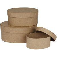 Oval Boxes, H: 5+6,5+8 cm, L: 11,5+15+18 cm, 3 pc/ 1 set