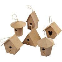 Mini Bird Houses, H: 7 cm, 6 pc/ 1 pack
