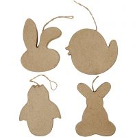 Easter Ornaments, Rabbit-head, Chick, Chick in Egg and Bunny, H: 10 cm, 4 pc/ 1 pack