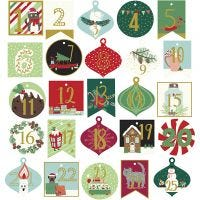 Gift Tags, advent numbers, size 40-54 mm, 120 g, 25 pc/ 1 pack