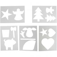 Christmas-Shaped Template, A4, 210x297 mm, white, 5 ass sheets/ 1 pack