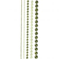 Half Pearls, size 2-8 mm, green, 140 pc/ 1 pack