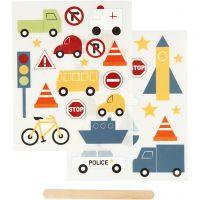 Rub-on Sticker, transport, 12,2x15,3 cm, 1 pack