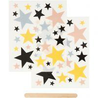 Rub-on Sticker, stars, 12,2x15,3 cm, 1 pack