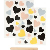 Rub-on Sticker, hearts, 12,2x15,3 cm, 1 pack