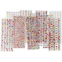 Rhinestones, D: 2-10 mm, 27x9 cm, Content may vary , 12 ass sheets/ 1 pack